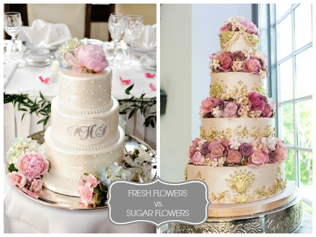 Comparison of real vs sugar wedding cake flowers
