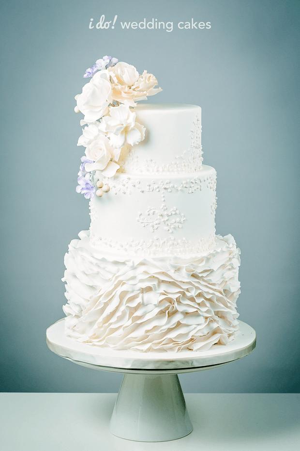 spring pink ruffle wedding cake