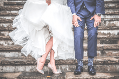 bride and groom showing ankles